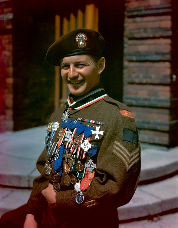 Sgt G. Durocher of the Les Fusiliers Mont-Royal poses with his 29 souvenir.jpg