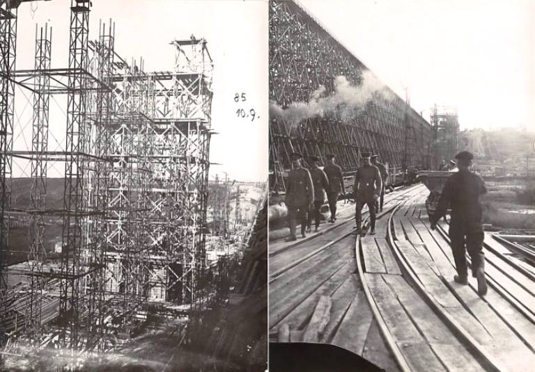Naujojo geležinkelio tilto per Dubysą Lyduvėnuose statyba, apie 1916 -1918 m..jpg